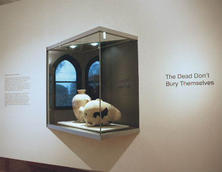 The dead don't bury themselves installation view showing two ceramic vessels from the University of Melbourne Art Collection