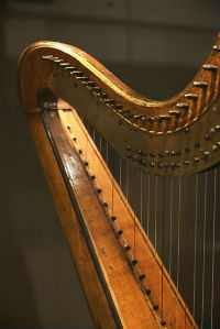 Detail of harp on display in the Grainger Museum