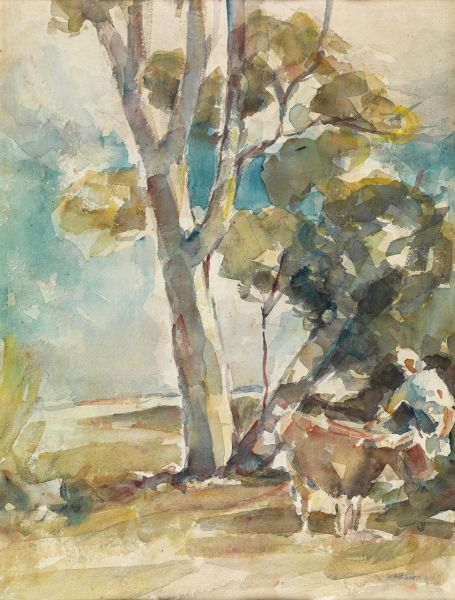 Artwork by Norman Macgeorge, untitled landscape with gum tree, figure and cow