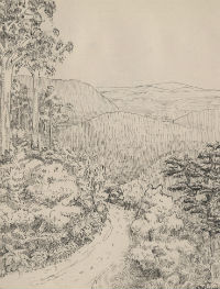 Frank Macfarlane Burnet, landscape sketch from hiking diary, 1920. University of Melbourne Archives