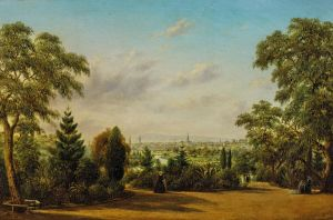 1865 Oid painting by Henry Gritten depicting view of Melbourne from the Botanical Gardens