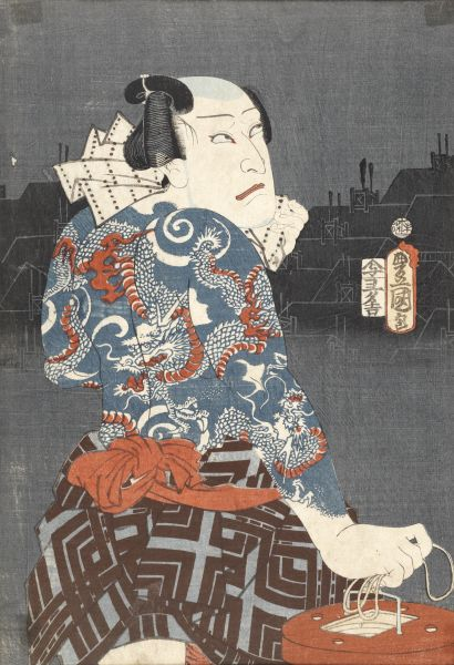 Utagawa Kunisada I, Tattooed villain seeking a victim, 1859. Baillieu Library Print Collection, University of Melbourne