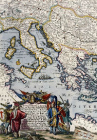 Jacob Sandrart, Nova Totius Graeciae... [New Map of Greece...] [detail], c.1660. Map Library: Rare and Historical Map Collection