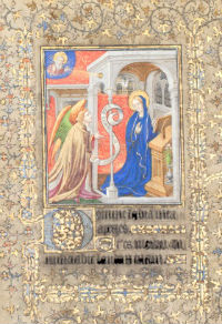 The Annunciation miniature from folio 1 recto of the 1408 Book of Hours