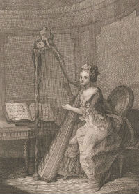 Print of lady playing a harp in 18th century costume