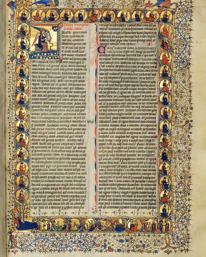 One of the many richly illustrated page from the Clumber Bible dating from c.1395