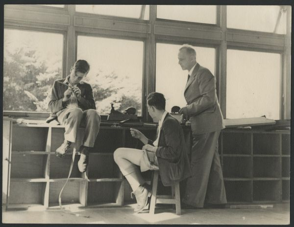 Ludwig Hirschfeld-Mack and two students, Art School, Geelong Grammar School, c.1950. University of Melbourne Archives