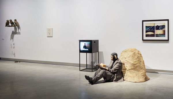 Exhibition installation view showing monkey dressed in a suit along with other art works