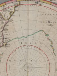 Detail of the c.1641 Polus Antarctius map showing the green outline of Staten Landt.